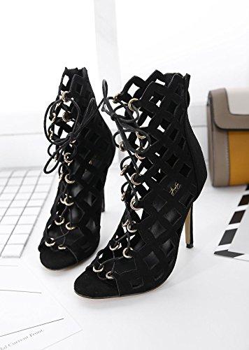 LvYuan-mxx Zapatos de los altos talones de las mujeres / verano del resorte / parte posterior hueco romana del laser de la rebeca / club nocturno atractivo / oficina y carrera Partido y vestido de noc BLACK-US8EU39UK6CN39