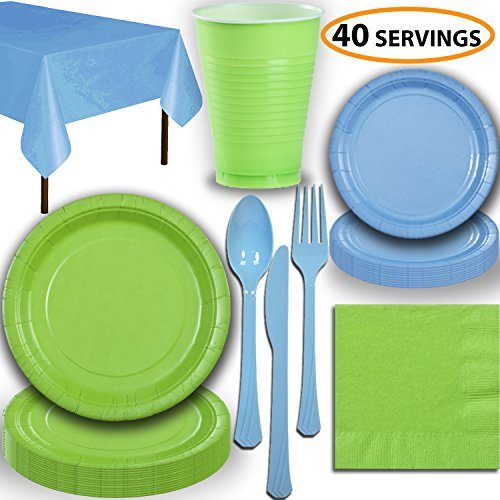 Disposable Party Supplies, Serves 40 - Lime Green and Light Blue - Large and Small Paper Plates, 12 oz Plastic Cups, Heavyweight Cutlery, Napkins, and Tablecloths. Full Two-Tone Tableware Set]()
