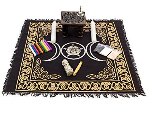 Alternative Imagination Deluxe Wiccan Altar Supply Kit Featuring Triquetra Altar Table ()