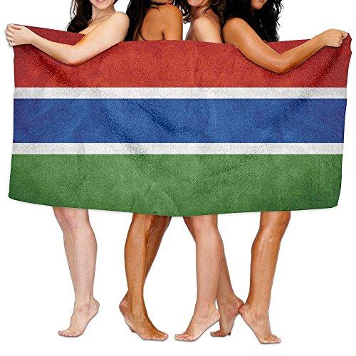 蛇行現象不幸ビーチバスタオル バスタオル ガンビア旗 レジャーバスタオル 海水浴 旅行用タオル 多用途 おしゃれ White