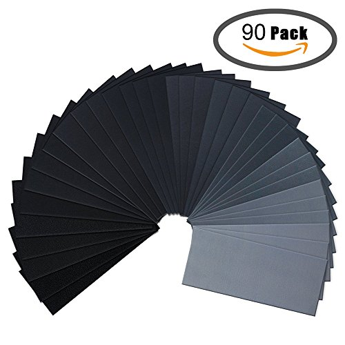 Sandpaper, 36/90 Pcs 60 to 2000 Grit Wet and Dry Waterproof Sandpaper Assortment for Automotive Sanding, Wood Furniture Finishing and Wood Turning Finishing