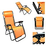 Magshion*Single Lounge Chair Recliner Reclining Patio Pool Beach outdoor Folding Chair (Orange) For Sale
