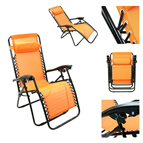 Magshion*1Pc Orange Recliner Lounge Chair Adjustable Ankle Upright Fully Reclined