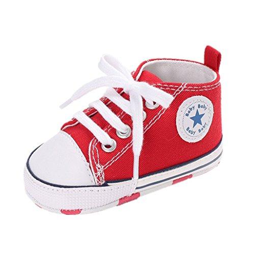 Auxma Niedlich Kind Baby Säugling Junge Mädchen weiche Sohle Kleinkind Schuhe Leinwand Sneak (6-12 Monat, Blau) rot