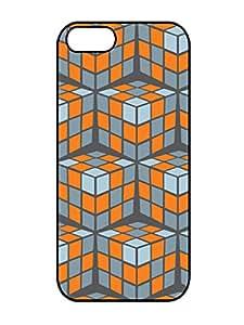 Popular Design rubik cascade orange 3D Pattern Rubber TPU Gel Iphone 5 5s Silicone Cover Case