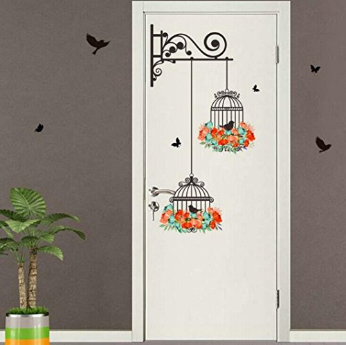 Koolee Clearance Birdcage Decorative Wall Sticker Cartoon Animal Household Wall Decal Removable Painting Stick Wall TV Wall Stickers - Ivy Brick English