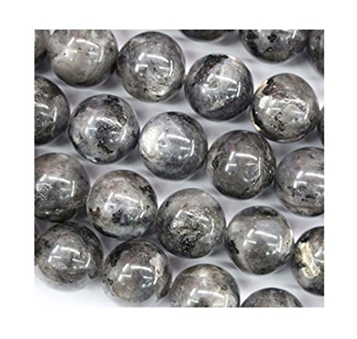 2 Strands Top Quality Natural Larvikite Black Labradorite Gemstone 6mm Round Loose Gems Stone Beads for Jewelry Craft Making ()