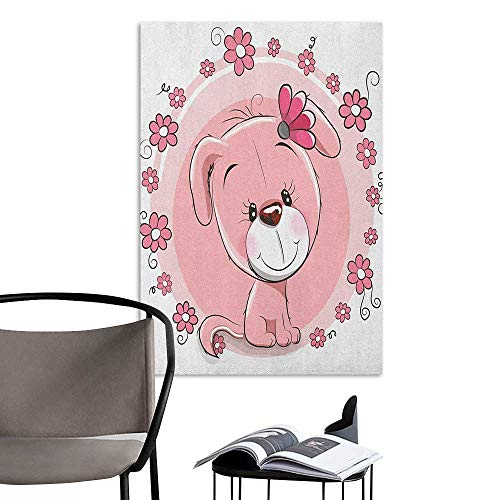 Wall Mural Wallpaper Stickers Dog Cute Little Puppy with Daisy Flowers Cheerful Adorable Domestic Pet Girls Pale Pink Coral White Room Bedside W32 x H48