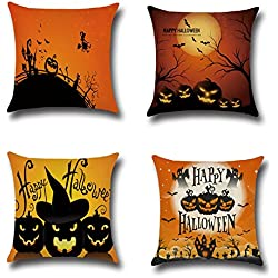 """E-Livingstyle 4 pack Happy Halloween Cotton Linen Square Decorative Throw Pillow Case Cushion Cover, 18""""x 18"""""""