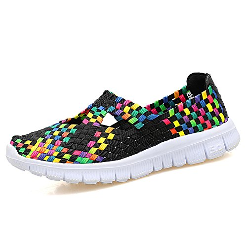 L LOUBIT Women Woven Shoes Slip On Handmade Sneakers Comfort Lightweight Walking Shoes 609 Mulit Black 37