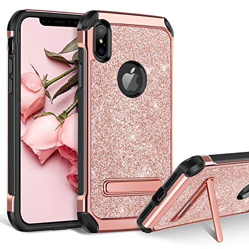 BENTOBEN iPhone Xs Max Case, Kickstand Design Slim 2 in 1 Heavy Duty Shockproof Hybrid Soft TPU Bumper Hard PC Cover with Glitter PU Faux Leather Protective Case for Apple iPhone Xs Max, Rose Gold
