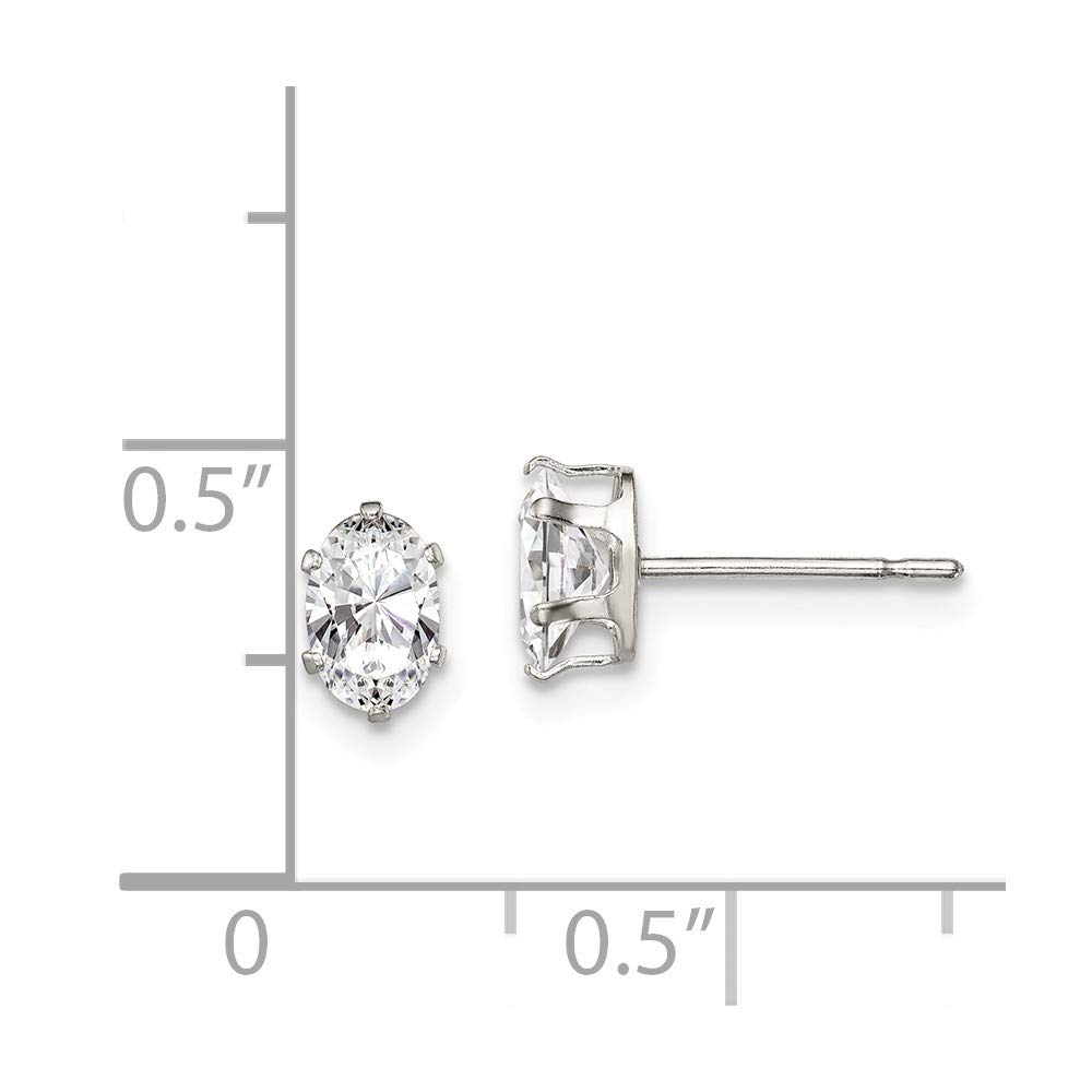 Solid 925 Sterling Silver 6x4 Oval CZ Cubic Zirconia Stud Earrings 4mm x 6mm