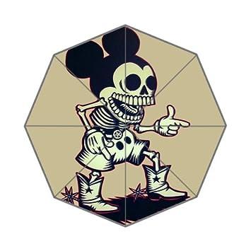 Mickey Mouse Oscuro calaveras Custom plegable paraguas lluvia paraguas paraguas de viaje por la moda paraguas