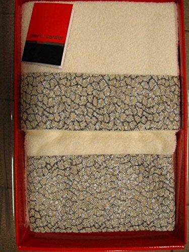 Juego Dos toalla de esponja PIERRE CARDIN toallas 60 x 110 40 x 60 bordo lúrex