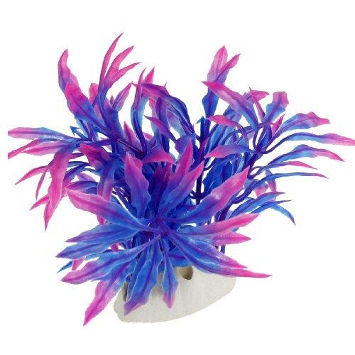 Jardin Plastic Artificial Grass Plant for Aquarium, 4.3-Inch, Fuchsia/Blue