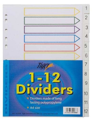 1-12 Numbered Filing Subject Dividers Tabbed Ringbinder Folder Index (10 (10 Tabbed File Folders)