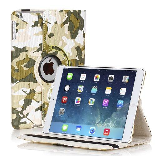 TNP iPad Mini Rotating Case (Camouflage Army Green) 360 Degree Stand Smart Cover Flip Protective PU Leather For iPad Mini 3, iPad Mini 2 & 1, Multi Viewing Angles, Auto - Store Online Tiffany