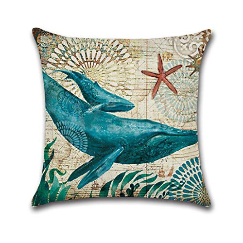 ♫ Toponly Seabed Animal Cushion Cover Marine Life Throw Pillowcase Cover