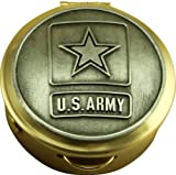 Son Sales United States Army Polished Brass Pill/Keepsake Box, Pyx with detailed Army Pewter military logo