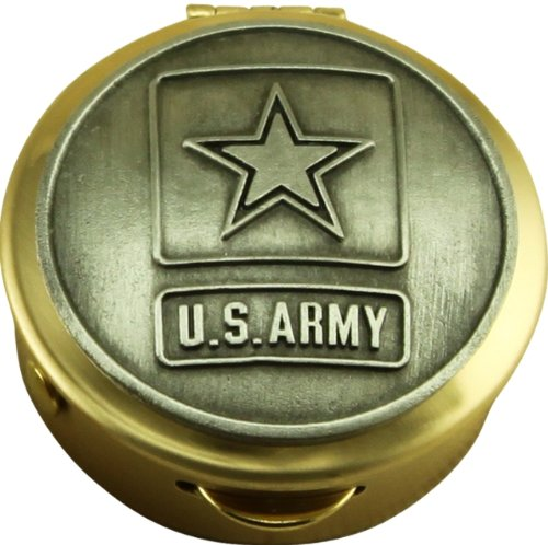 Army Brass Case - US Army Pill Box Keepsake United States Military Collectibles Patriotic Gifts
