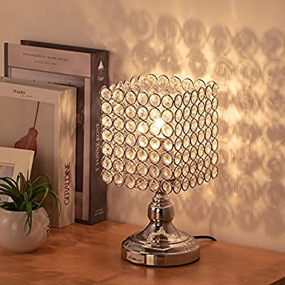 HAITRAL Bedside Table Lamps - Square Crystal Night Lamp with Unique  Lampshade Silver Desk Lamps for Living Room, Bedroom, Dining Room, Dresser,  ...