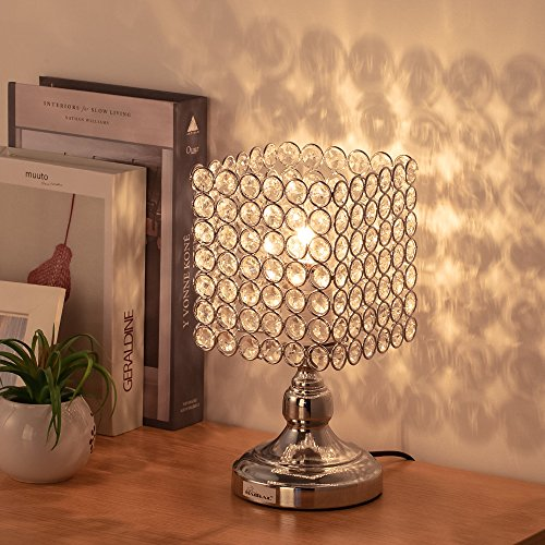 HAITRAL Bedside Table Lamps - Square Crystal Night Lamp with Unique Lampshade Silver Desk Lamps for Living Room, Bedroom, Dining Room, Dresser, Office, Kitchen (HT-BD027)