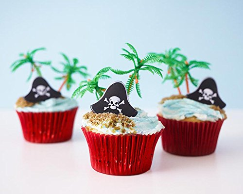 24 Pirate Cupcake Picks Kit - Pirate Hat Topper Rings, Palm Tree Novelties, Red Baking (Pirates Of The Caribbean Pistols)