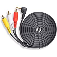 Conwork Premium 90 Degree Angle 3.5mm Stereo Male to 3 RCA Male Splitter Extension Cable for Audio Video AUX Port - 10ft