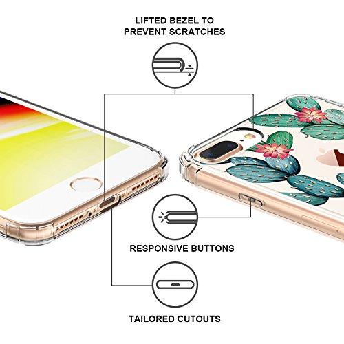 Funda iPhone 8 Plus iPhone 7 Plus, MOSNOVO Funda Transparente Suave TPU Gel [Ultra Fina] [Protección a Bordes y Cámara] [Compatible con Carga Inalámbrica] Enjaca Perfecta para iPhone 7 Plus / iPhone 8 Cactus