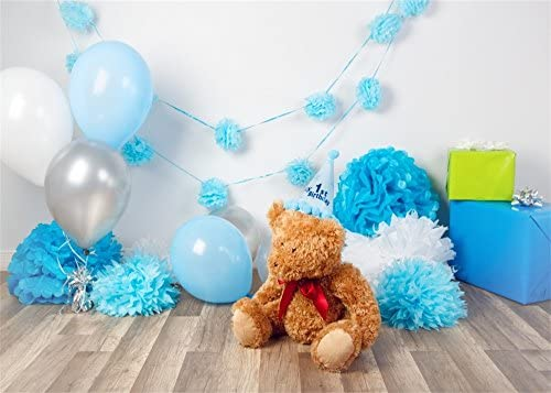 YongFoto 1,5x1m para niña primer cumpleaños fondo papel oso adorable flores regalos madera abeto fondo suelo para fotografía interior dulce baby ...