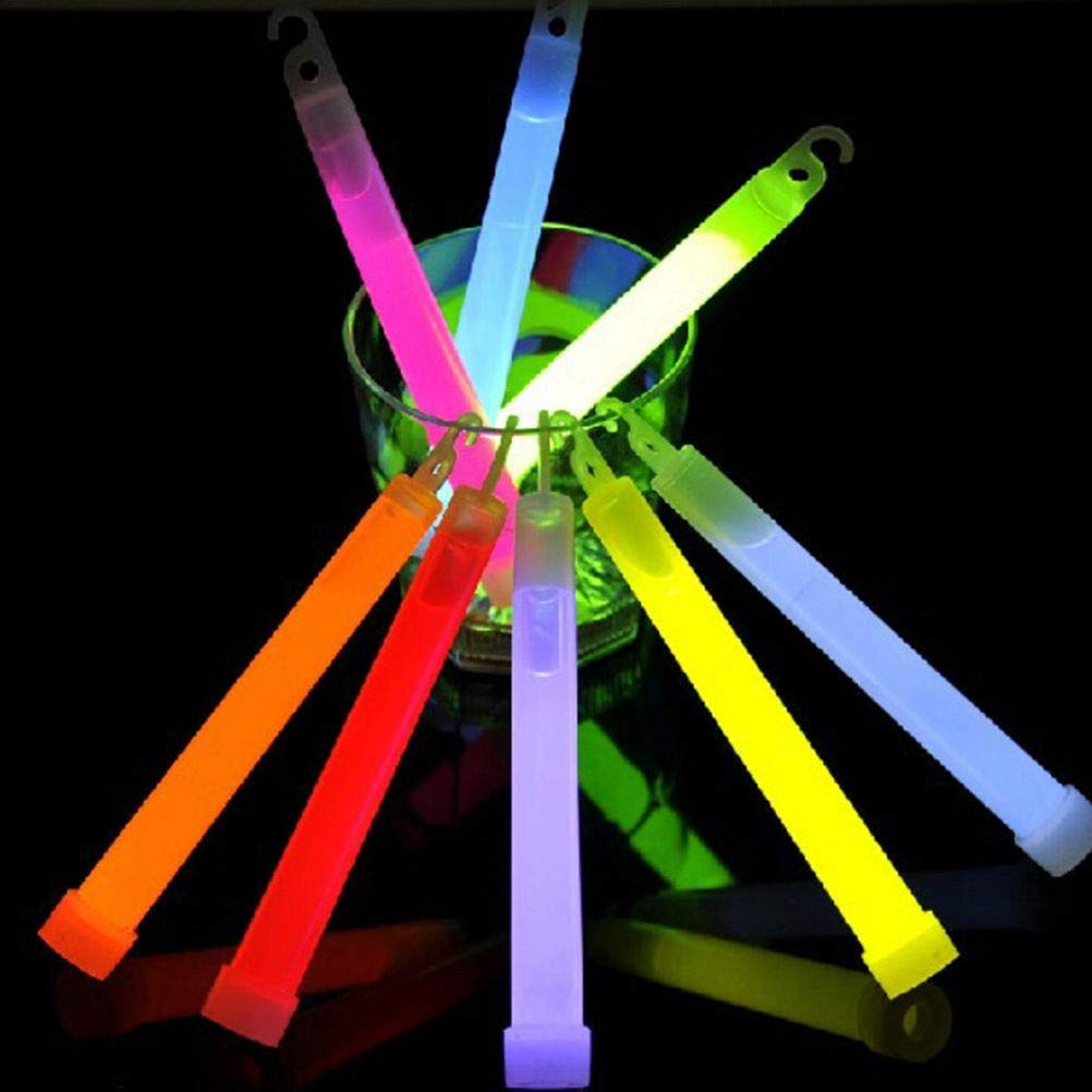 VirtualSurround 50 Thick 6 Glow Sticks Fat Party Necklaces Light Assorted Lanyard Favors Neon