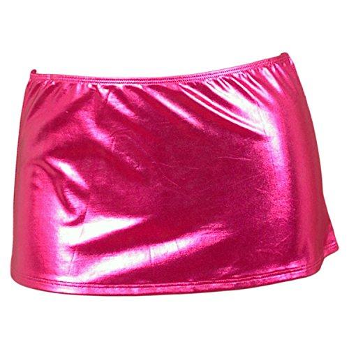 (Adiva Intimates Metallic Lamé Mini Skirt - Hot Pink)