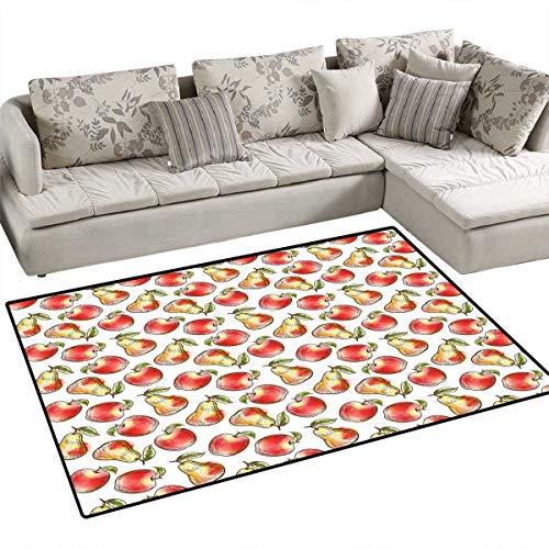 - Apple Room Home Bedroom Carpet Floor Mat Agriculture Inspired Sketchy Apples Pears Green Leaves Nutrition Taste Floor Mat Pattern 36
