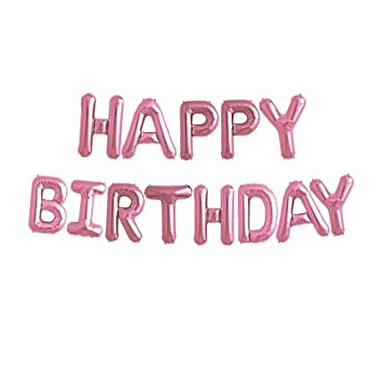 Pink Happy Birthday Letter Balloons.Uever Pink Happy Birthday Balloons Happy Birthday Banner Aluminum Foil Letter Balloons For Birthday Decorations And Party Supplies
