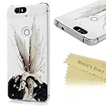 Google Nexus 6P Case - Mavis's Diary® 3D Handmade Bling Crystal Shiny Sparkle Rhinestone Diamonds Black Butterfly Fariy Pattern Cover for Huawei Google Nexus 6P (2015) with Soft Clean Cloth