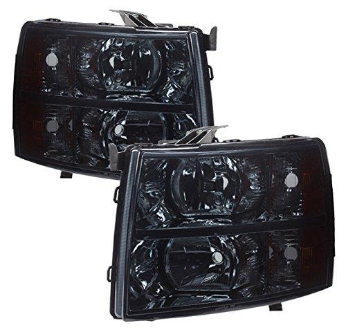 AJP Distributors For Chevy Chevrolet Silverado 1500 2500 3500 HD Headlights Lights Lamps 2007 2008 2009 2010 2011 2012 2013 2014 07 08 09 10 11 12 13 14 (Chrome Housing Smoke Lens Amber Reflector)