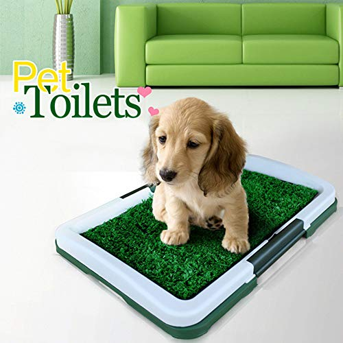 (Puppy Potty Trainer, Dog Indoor Home Training Toilet Pad Potty Trainer Grass Pee Pad for Pet Cat Puppy, Outdoor Patch Restroom (Green))
