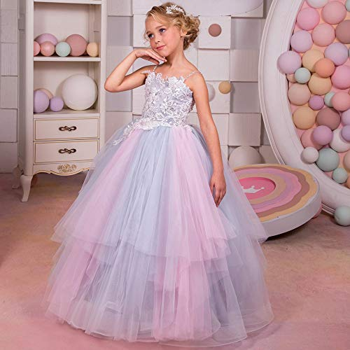 Zxcvlina Girls Tutu Dancing Dress Children's Sling Rainbow Floral Fluffy Girl Stage Wedding Dress Flower Girl Qi Dress (Size : -
