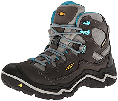 KEEN Women's Durand Mid WP Hiking Boot, Gargoyle/Capri Breeze, 5 M US