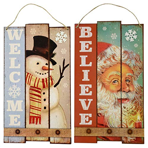 Christmas House Sentiments Hanging Words Signs - Set of 2
