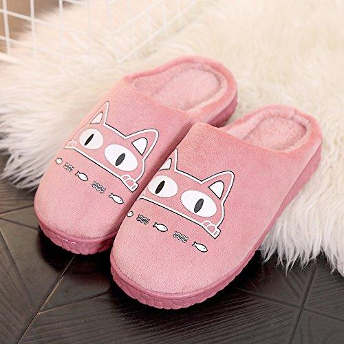 Fankou autunno inverno Cartoon carino uomini e donne adulti pantofole di cotone cotone caldo scarpe anti-slip case con piscina home scarpe ,41-42, pesce ?