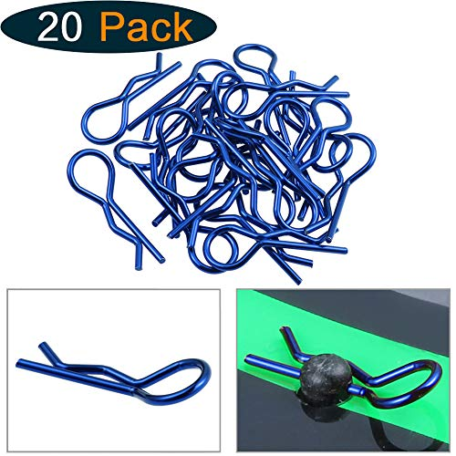 Hobbypark RC 1/10 Body Clips Bent Springy R-Clips Dark Blue Anodized for Car Crawler Truck Off Road Buggy Drift Touring (20-Pack) (Dark Blue) ()