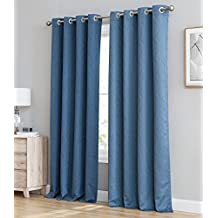 """HLC.ME Camden 100% Blackout Thermal Window Curtain Grommet Panels - Energy Efficient, Complete Darkness, Noise Reducing - Great for Living Room & Bedroom - Set of 2 (50"""" W x 84"""" L, Marine / Navy Blue)"""