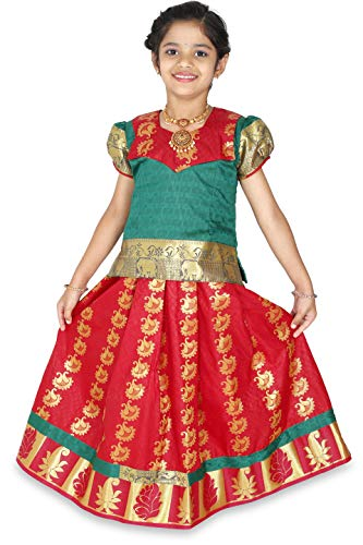 - kaatru Thana Silk Girls Pavadai Set D21 - Lehenga Choli (Green & Red) (3-4 Y)