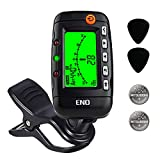 Guitar Tuner, 3 in 1 Clip-on Electronic Guitar Tuner Acoustic and Metronome for Guitar, Bass, Violin, Ukulele, and Chromatic Tuning with Clear LCD Display, 2 Picks and Batteries Included