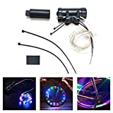 AGPTEK Bike Spoke Light, LED Spokelit Wheel Spoke Light String for Bicycle Cycling Tires & Rims Safety and Warning, Waterproof/2 Light Modes-Quick Flash & Steady (Multi-Color, USB Rechargeable)