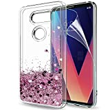 (US) LG V30 Case,LG V30 Plus Case with HD Screen Protector for Girls Women,LeYi Cute Shiny Glitter Bling Moving Quicksand Liquid Clear TPU Protective Phone Case Cover for LG V30/LG V30 + ZX Rose Gold