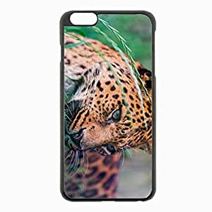 iPhone 6 Plus Black Hardshell Case 5.5inch - leopard spotted grass big cat Desin Images Protector Back Cover