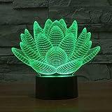 Wosports 3D iLLusion Night Light 7 Colors Changing Table Desk Deco Lamp Bedroom Children Room Decorative Night Light (Lotus Flower)