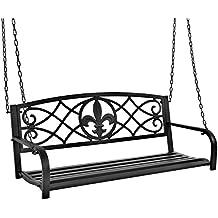 Best Choice Products Outdoor Furniture Metal Fleur-De-Lis Hanging Patio Porch Swing- Black